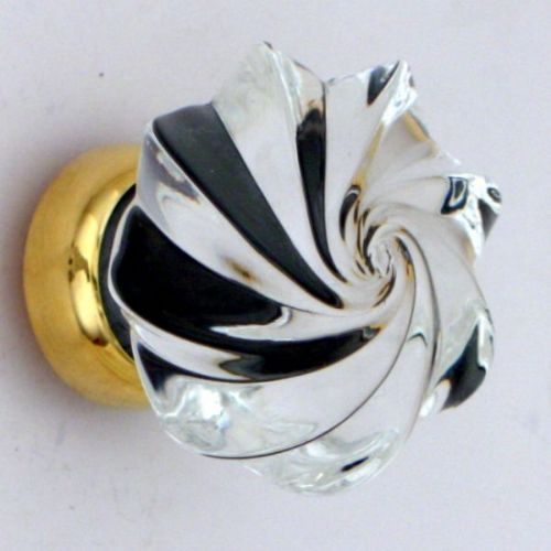 Glass cupboard knob whirl with brass back